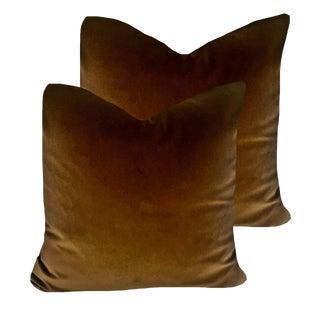 Contemporary Robert Allen Brown Organic Velvet Pillows - a Pair For Sale