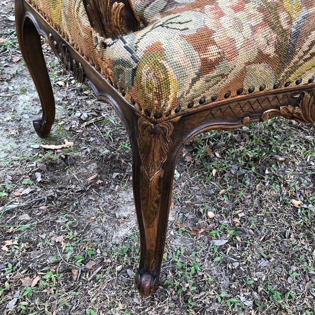 19th Century French Louis XV Tapestry Armchair For Sale - Image 10 of 13