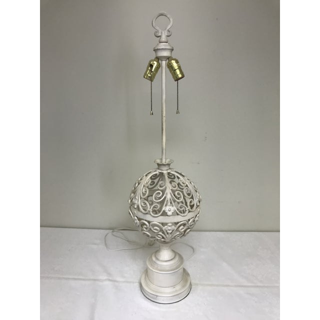 1960s Shabby Chic Wrought Iron Filigree White Painted Table Lamp For Sale - Image 10 of 10
