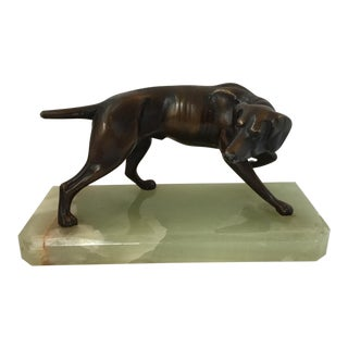 Bronze Toned Dog Statue on Green Marble For Sale