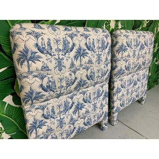 Twin Size Chinoiserie Style Upholstered Headboards Preview