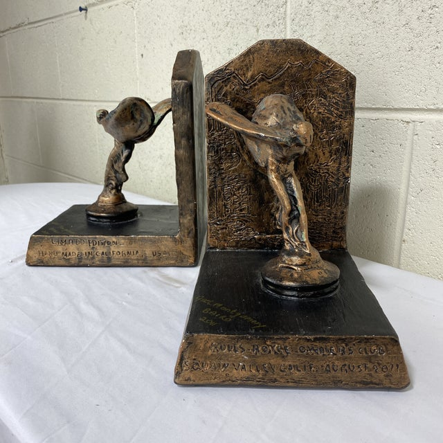 Hollywood Regency Rolls Royce Flying Lady Bookends - a Pair For Sale - Image 3 of 13