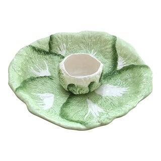1990s H&HD Majolica Lettuce and Cauliflower Bowls - a Pair For Sale