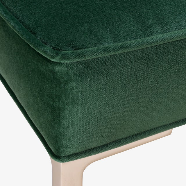 Astor Square Brass Ottomans in Emerald Velvet by Montage, Pair For Sale In New York - Image 6 of 8