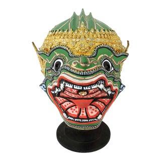 1980s Handmade Paper Mache Thai Hanuman Mask & Stand Ramayana Headdress For Sale