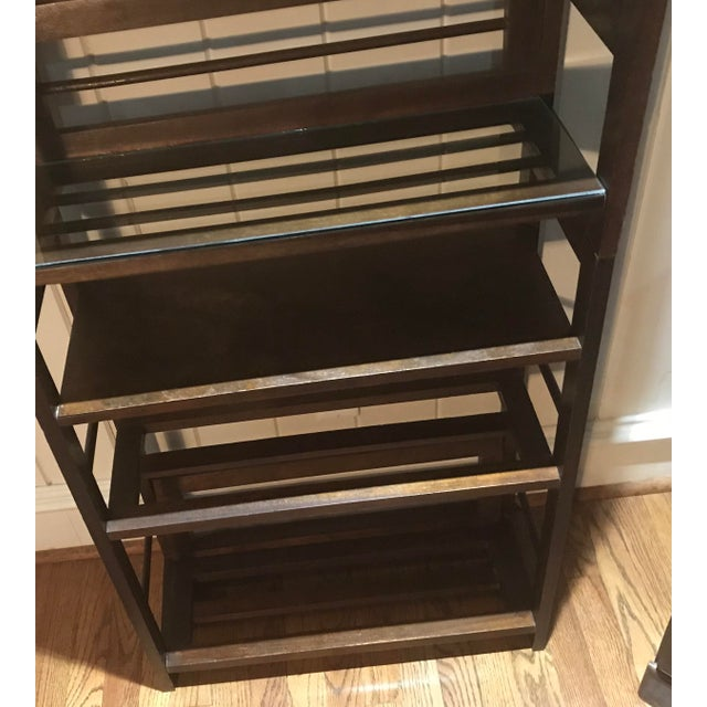 3 Tier Cane and Wood Shelving Unit For Sale - Image 4 of 13
