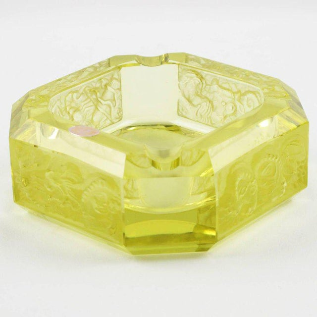 Bohemian Art Deco Vaseline Czech Glass Ashtray & Box - Image 6 of 11