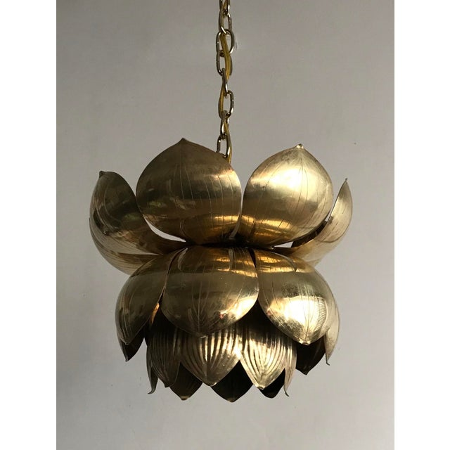 Boho Chic 1970s Brass Lotus Blossom Chandelier Pendant For Sale - Image 3 of 5