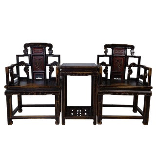 Antique Chinese Carved Official Arm Chairs & Tea Table - Set of 3