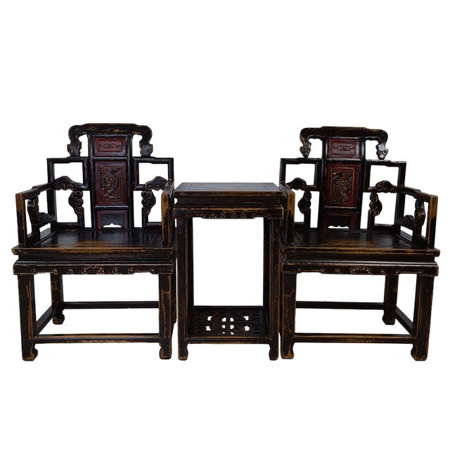 Antique Chinese Carved Official Arm Chairs & Tea Table - Set of 3 For Sale