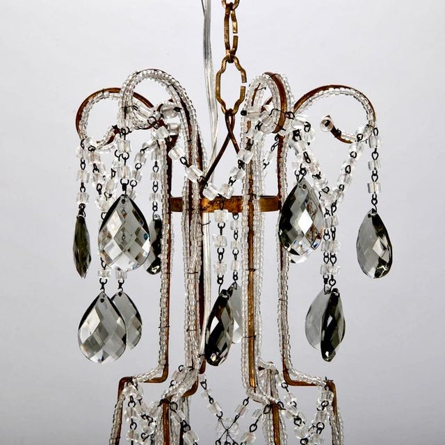 French Six Light All Crystal Beaded Chandelier With Smoke Color Drops - Image 5 of 10