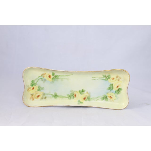 Antique Hand-Painted Porcelain Yellow Rose Trinket Tray For Sale - Image 4 of 11