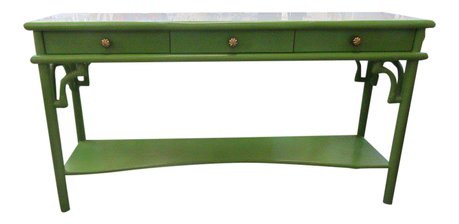 rattan console table. Green Painted 3 Drawer Rattan Console Table H