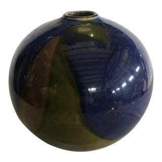 1970s Diane Love Ceramic Blue Green & Brown Sphere Vase For Sale