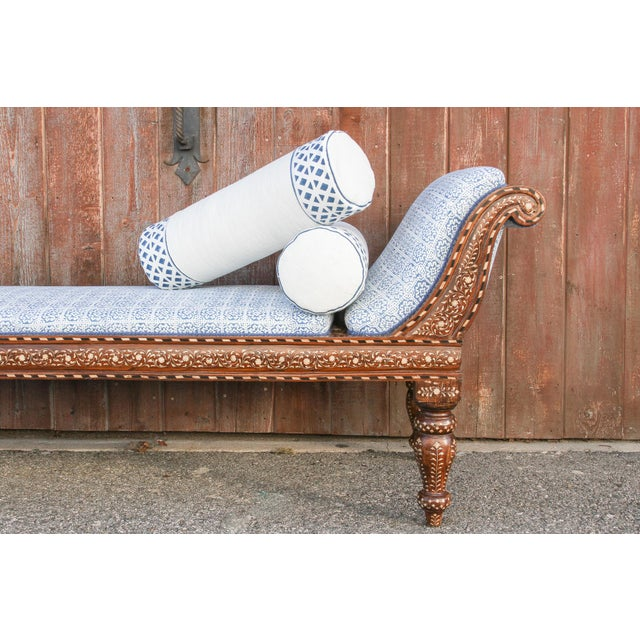 Exclusive Anglo Indian Bone Inlaid Chaise Lounge With Linen Block Print Upholstery For Sale - Image 10 of 13