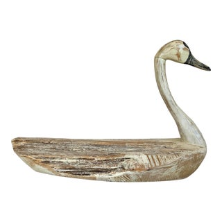 Vintage Rustic Wooden Swan For Sale