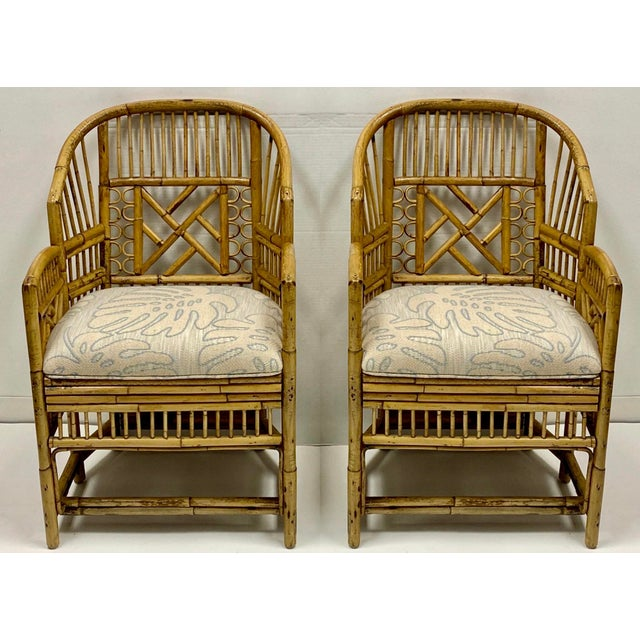 Pair of Chinese Chippendale Style Brighton Bamboo Chairs For Sale In Atlanta - Image 6 of 7