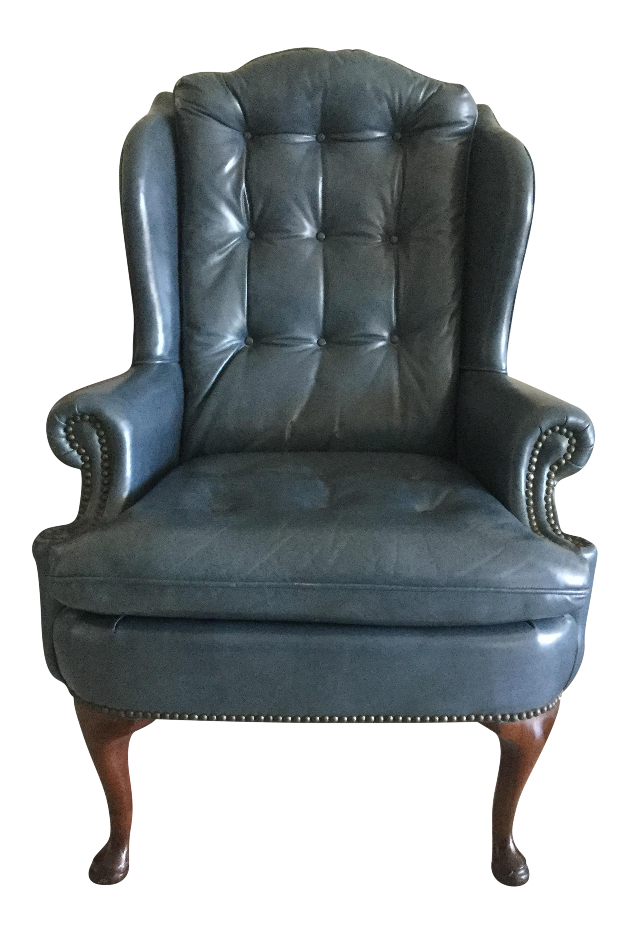 Steel Blue Leather Wingback Chair  sc 1 st  Chairish & Steel Blue Leather Wingback Chair | Chairish