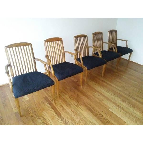 1980s Henredon Captains Chairs - Set of 5 For Sale - Image 5 of 5