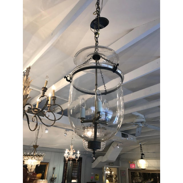 Black Mid 19th Century Antique Traditional Hurricane Style Foyer Lantern Chandelier For Sale - Image 8 of 8