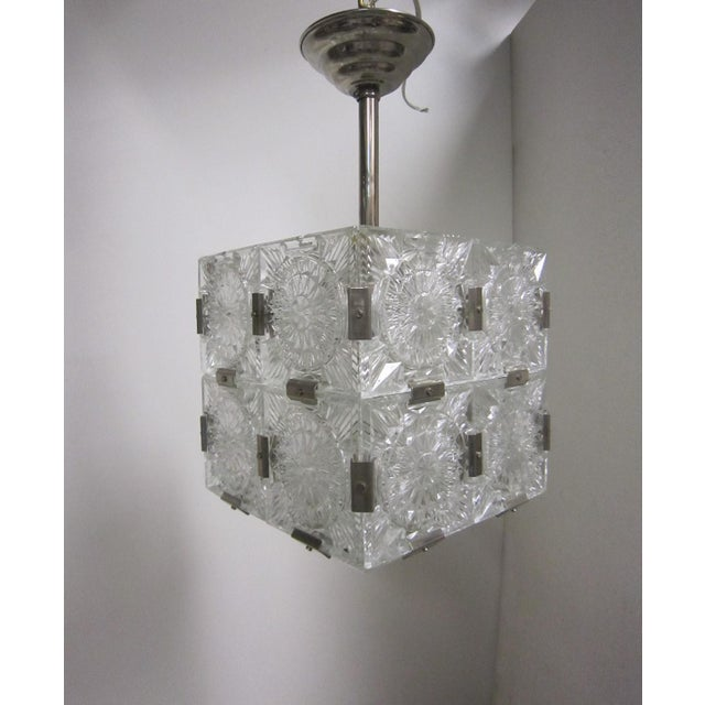Original Cut Glass With Nickeled Clips Box Cube Pendant Lights - Set of 3 For Sale - Image 4 of 12