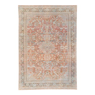 Antique Mahal Handmade Medallion Red Wool Rug For Sale