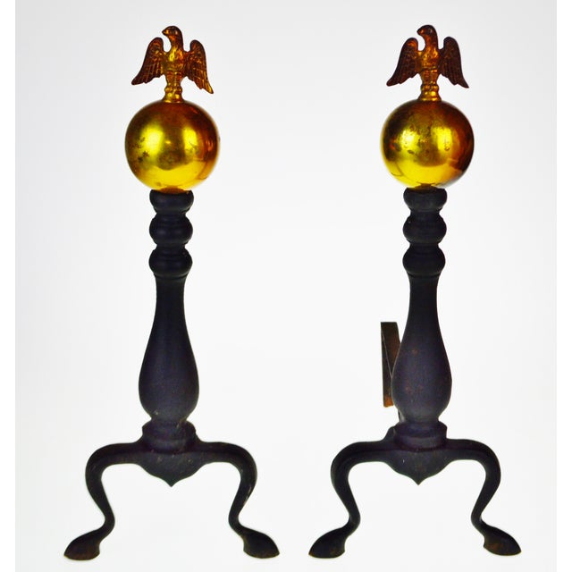 Vintage American Eagle Fire Dog Andirons - a Pair For Sale - Image 12 of 13