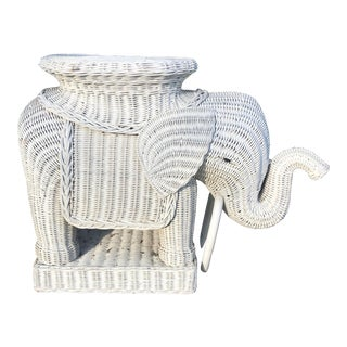White Wicker Elephant Table For Sale