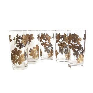 Mid-Century Gold Autumn Leaf Cocktail Glasses - Set of Five For Sale