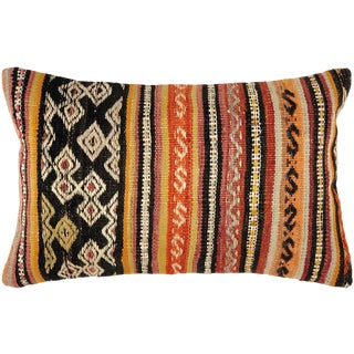 "UpCycled Stripe Kilim Lumbar Pillow | 12"" X 20"" For Sale"