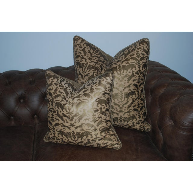 Greyana Hand Stamped Leather Pillows - A Pair For Sale - Image 4 of 4
