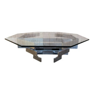 Vintage 1970's Chrome Geometric Base Coffee Table For Sale