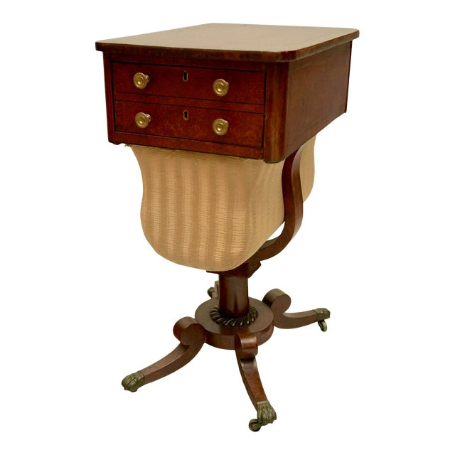 Circa 1820 Regency Amboyna Wood Worktable For Sale