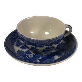 Antique Miniature Blue Willow Tea Cup and Saucer Marked Japan For Sale