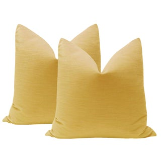 "22"" Goldenrod Strie Velvet Pillows - a Pair For Sale"