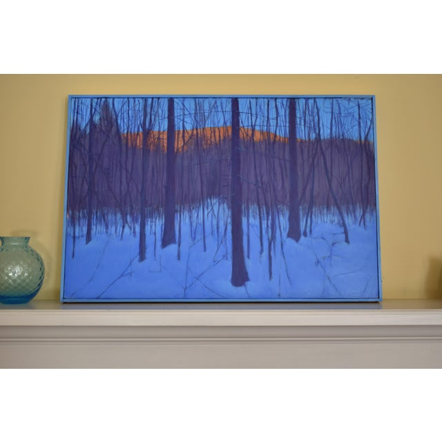 """Blue Stephen Remick """"Nightfall in Deer Hollow"""" Contemporary Expressionist Landscape Painting For Sale - Image 8 of 12"""