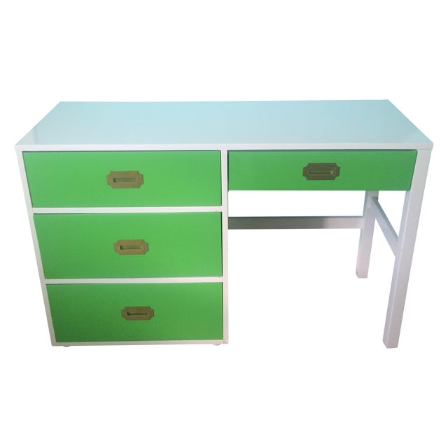 Lacquered Vintage Campaign Desk - Image 1 of 6