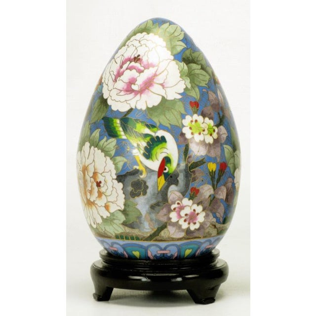 "1960s Pair 11.5"" Colorful Cloisonne Eggs For Sale - Image 5 of 11"