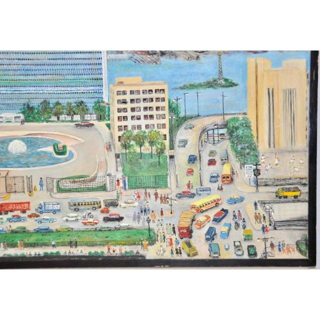 "Folk Art Large Scale New York City ""United Nations"" Folk Art Painting by Helen Mauldin C.1958 For Sale - Image 3 of 13"
