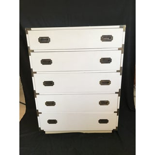 Dixie Vintage White Campaign Hollywood Regency Mid Century Chest Highboy Dresser Preview