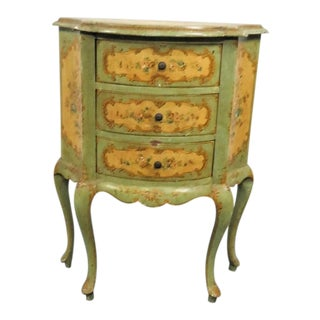 Italian Florentine Green Floral Commode For Sale