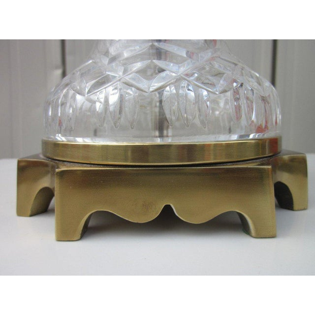 Brass Pair of Cut Crystal and Brass Lamps For Sale - Image 7 of 8