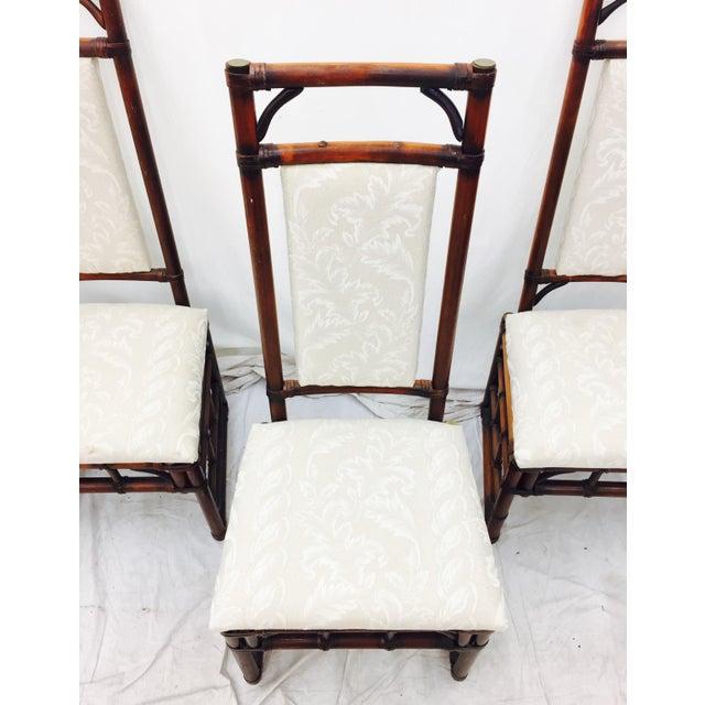 Vintage Bamboo & Rattan Dining Chairs - Set of 4 - Image 5 of 11