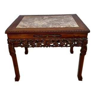 19th Century Chinese Carved Hardwood Low Table With Marble Top For Sale