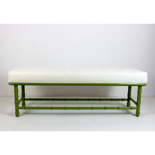 Elegant Mid-Century faux bamboo bench beautiful restored in a apple green gloss finish with newly upholstered cushion in a...