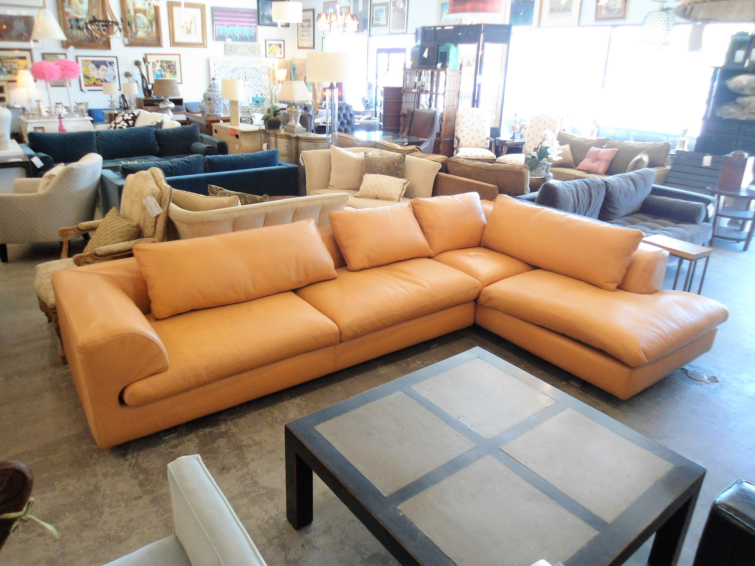 Roche Bobois Orange Leather Sectional Sofa   Image 2 Of 11