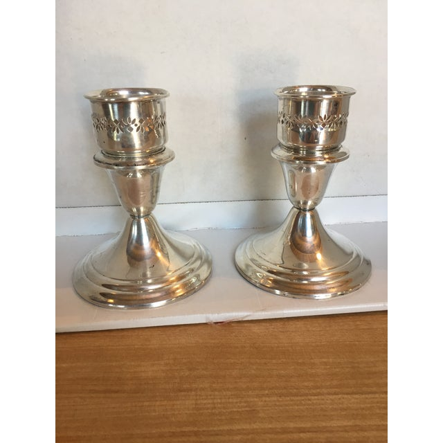 Traditional Gorham Sterling Silver Candleholders - a Pair For Sale - Image 3 of 7