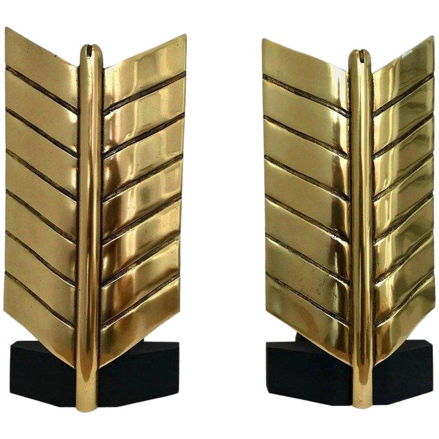 Large Brass and Iron Arrow Andirons - a Pair For Sale