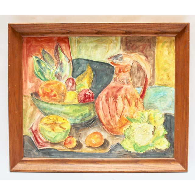 Mid-Century Impressionist Textured Still Life Painting For Sale In Sacramento - Image 6 of 6