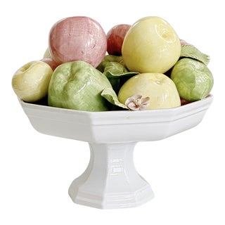 Vintage Italian Majolica Ceramic Fruits Centerpiece Platter Pottery For Sale